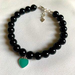 Black Onyx Bracelet with Sterling Silver Charm